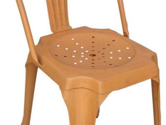 Antic Line Creations - chaise vintage en métal orange - Chair