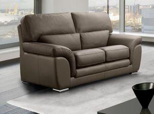 WHITE LABEL - cloe canapé 2 places taupe en cuir recyclé - 2 Seater Sofa