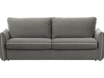 WHITE LABEL - canapé fixe linus 2 places en microfibre gris clai - 2 Seater Sofa