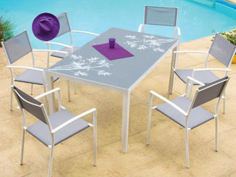 Imagin - salon bambou 1 table + 6 fauteuils 6 personnes - Outdoor Dining Room