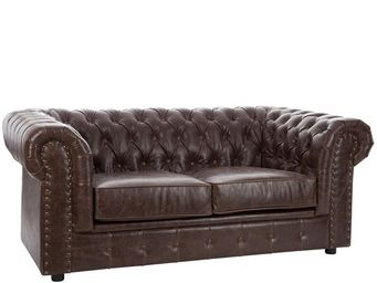 WHITE LABEL - canapé chesterfield 2 places simili cuir - boston - 2 Seater Sofa
