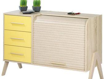 WHITE LABEL - meuble d\'entrée à rideau, 3 tiroirs - arkos n°6 -