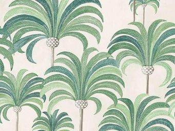 THEVENON - la palmeraie vert tropical fond cra¨me - Upholstery Fabric