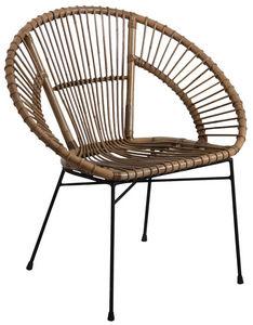 Aubry-Gaspard - fauteuil en rotin gris et métal - Armchair