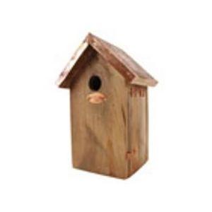 Esschert Design - nichoir toit en métal couleur cuivre mésange bleue - Birdhouse
