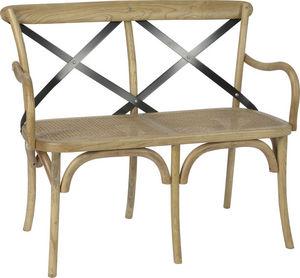 Amadeus - banc en orme avec croisillons en métal - Bench