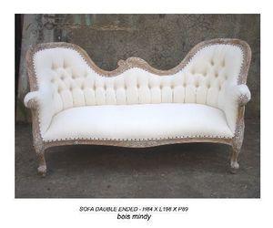 DECO PRIVE - meridienne double end en bois ceruse - 2 Seater Sofa