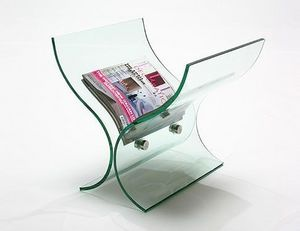 Abode Interiors - glass curved magazine rack - Magazine Rack