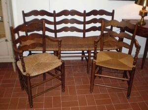 Philippe Pope - banquette et ses 2 fauteuils - Chair With Straw Seat