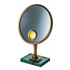 Miroir Brot - petite elegance 24 spot sur dalle de verre - Lighted Tabletop Mirror