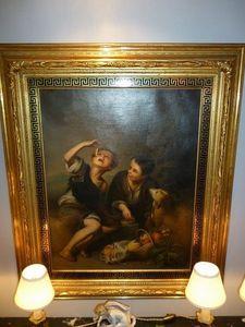 La Brocante de Steeve - enfants mangeurs de pâtisserie - Oil On Canvas And Oil On Panel