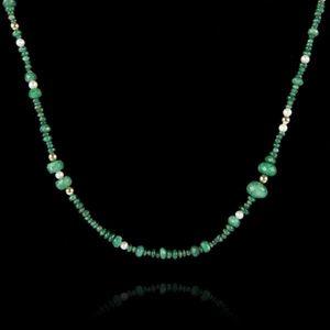 Expertissim - collier perles d'émeraudes, or et perles de cultu - Necklace