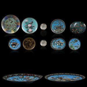 Expertissim - deux coupes à décor de grues et d'oies - Decorative Platter