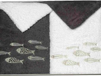 SIRETEX - SENSEI - coffret 4 pièces 2 serviettes brodées + 2 gants sa - Bath Glove