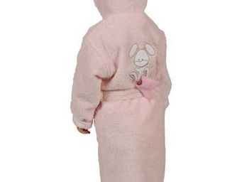 SIRETEX - SENSEI - peignoir enfant brodé doudou rabbit rose - Children's Dressing Gown