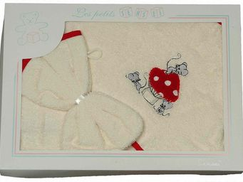 SIRETEX - SENSEI - coffret cape de bain brodée mouse room + gant - Hooded Towel