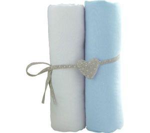 BABYCALIN - lot de 2 draps housses jersey blanc/ciel (60x120 c - Children's Bed Linen Set