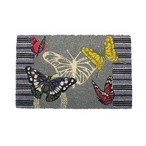 WHITE LABEL - paillasson en coco motifs papillons - Doormat