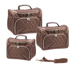 WHITE LABEL - 3 vanity coco capitonnés bruns avec poche devant - Vanity Case