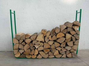 RIBILAND by Ribimex - range-bûches 2 éléments en acier verni hauteur 95c - Fire Wood Shed