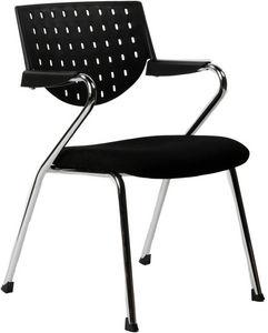 KOKOON DESIGN - fauteuil de bureau noir avec accoudoirs en fabric  - Reception Armchair