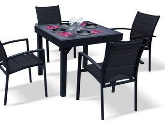WILSA GARDEN - salon de jardin modulo noir 4 personnes en alumini - Outdoor Dining Room