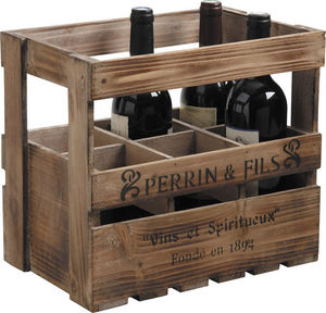 Aubry-Gaspard - caisse à vin en bois 6 bouteilles 33x21x29cm - Bottle Crate