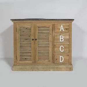 MADE IN MEUBLES - meuble salle de bain authentiq alphabet 2 portes e - Vanity Unit