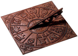 WORLD OF WEATHER - cadran solaire astrologie en fonte 26x26cm - Sundial
