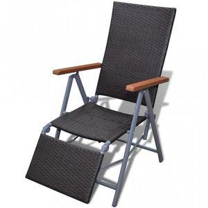 WHITE LABEL - chaise de jardin pliable transat marron - Folding Garden Armchair