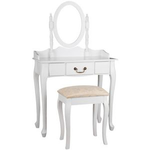WHITE LABEL - coiffeuse bois blanche miroir tabouret - Dressing Table
