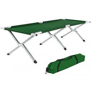 WHITE LABEL - lit de camp pliable xl 190cm + housse vert - Camping Bed