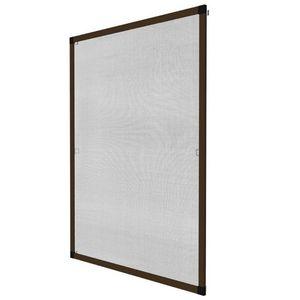 WHITE LABEL - moustiquaire pour fenêtre cadre fixe en aluminium 130x150 cm brun - Window Fitted Mosquito Screen