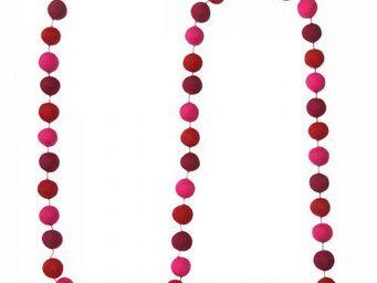 Lamali - guirlande boules feutres couleurs rose foncé - Festoon