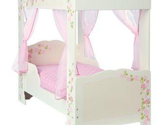 WHITE LABEL - lit à baldaquin + matelas morpho 140*70 cm - licia - Children's Bed