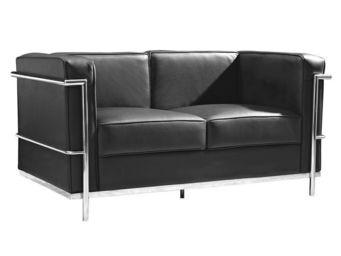 WHITE LABEL - canapé 2 places cuir noir - corbs - l 131 x l 70 x - 2 Seater Sofa