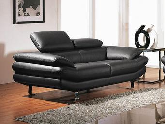 WHITE LABEL - canapé cuir 2 places carlton - 2 Seater Sofa