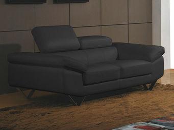 WHITE LABEL - canapé cuir 2 places magnolia - 2 Seater Sofa