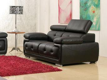 WHITE LABEL - canapé cuir 2 places san marco - 2 Seater Sofa