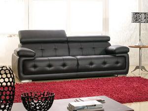 WHITE LABEL - canapé cuir 3 places san marco - 3 Seater Sofa