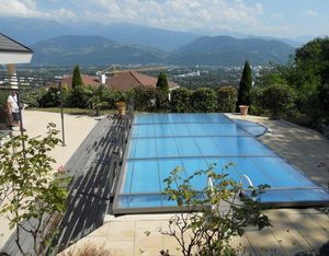 Abri piscine POOLABRI - relevable - Flat Swimming Pool Shelter