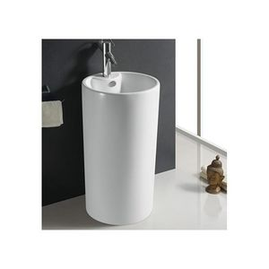 Rue du Bain - lavabo totem cylindre, 46x82 cm, céramique blanc, - Pedestal Washbasin