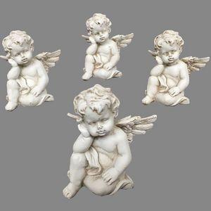 CHEMIN DE CAMPAGNE - 4 anges chérubins en résine dure pleine 8 cm - Figurine