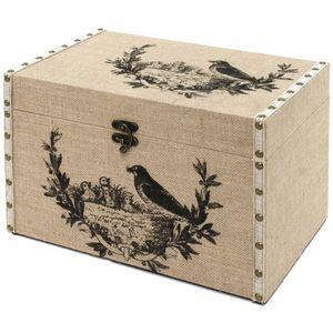 CHEMIN DE CAMPAGNE - coffre malle de rangement bois toile de jute 40x26 - Trunk