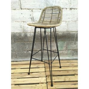 Mathi Design - tabouret haut grafik naturel - Bar Chair