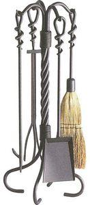 Aubry-Gaspard - valet de cheminée en fer forgé torsades 4 accessoi - Fireplace Set