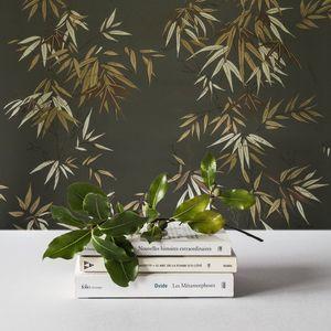 ISIDORE LEROY - bambous vert doré - Wallpaper