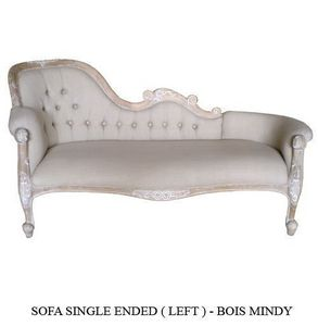 DECO PRIVE - sofa single end cérusé et tissu grey - Chaise Longue Sofa