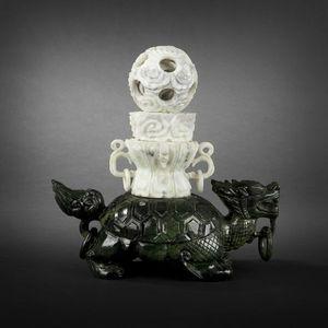 Expertissim - tortue en serpentine, chine xxe siècle - Sculpture