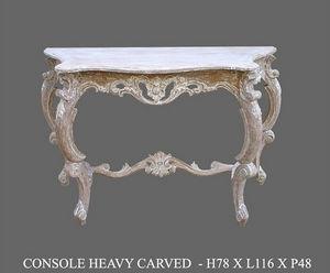 DECO PRIVE - console en bois exotique ceruse modele heavy sculp - Console Table